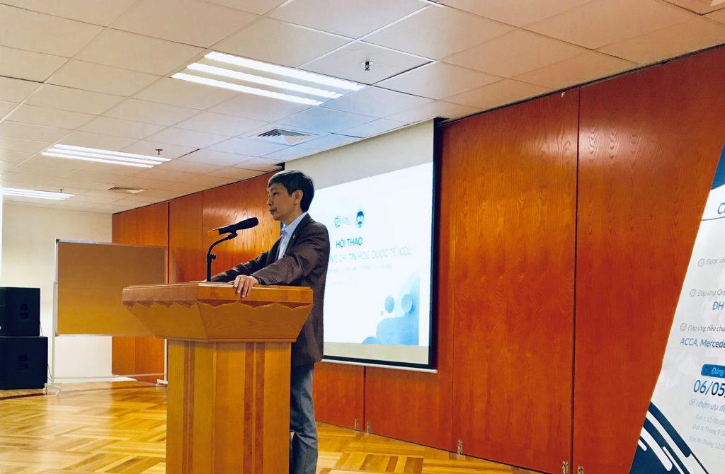 Buổi hội thảo có sự hiện diện của PGS.TS Bùi Đức Triệu, Trưởng phòng Quản lý Đào tạo trường ĐH Kinh tế Quốc dân.